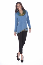 Parsley and Sage Delaney Cowl Tunic in Teal