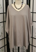 Prairie Cotton Elbow V Tunic in Cement in One Size (fits Small-3X)