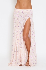 Acacia Morocco rayon long panel slit skirt in island orchid
