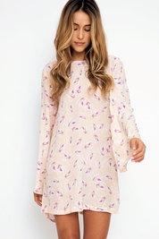 Acacia Tortolla rayon long sleeve dress in island orchid