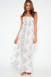 Cool Change Pamela pull on maxi in white/moss