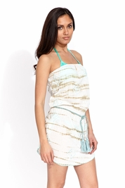 Letarte Tie Dye strapless dress in sand FINAL SALE