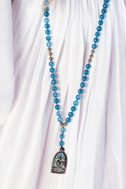 Soleil Blue Buddha Meditation necklace in aquamarine