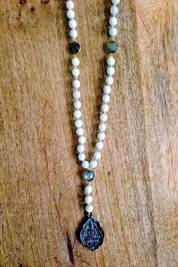 Soleil Blue Buddha Reflection necklace in amazonite