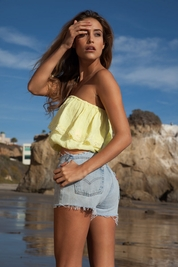 Soleil Blue Julia Tube top in buttercup FINAL SALE