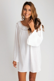 Soleil Blue Marilyn tunic in white FINAL SALE