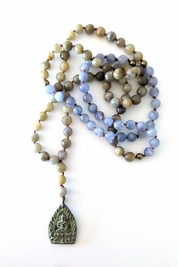 Soleil Blue Buddha Meditation necklace in labradorite/aquamarine