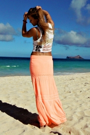 Soleil Blue Rosemary maxi skirt in neon coral FINAL SALE