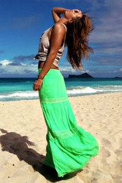 Soleil Blue Rosemary maxi skirt in neon green FINAL SALE