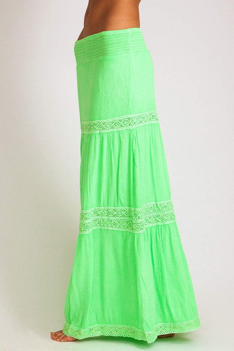 soleil blue rosemary maxi skirt in neon green