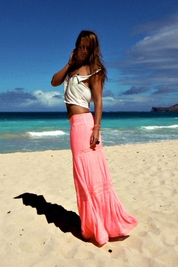 Soleil Blue Rosemary maxi skirt in neon pink FINAL SALE