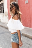 Soleil Blue Sammie off shoulder top in white