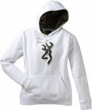 SPG's Womens Browning Buckmark Camo Hooded Sweatshirt - White