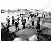 1922 - Beach patrons with new boardwalk under construction in the background