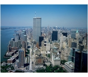 Aerial view of Lower Manhattan with the Twin Towers