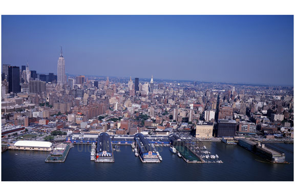 Aerial view of New York City with the piers in the foreground