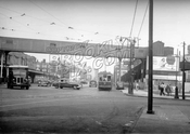 Atlantic Avenue looking east from Flatbush Avenue; Fifth Avenue is on the right, c.1950