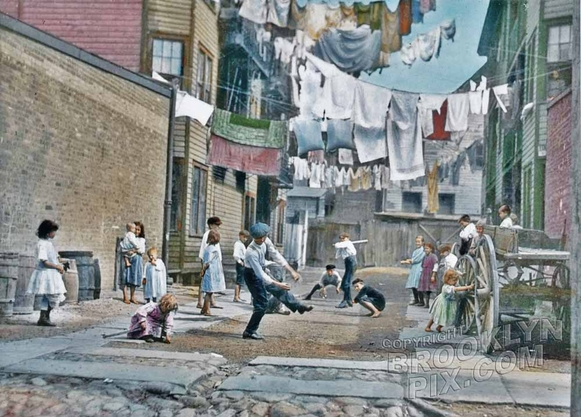 Baseball in a tenement alley, 1890s