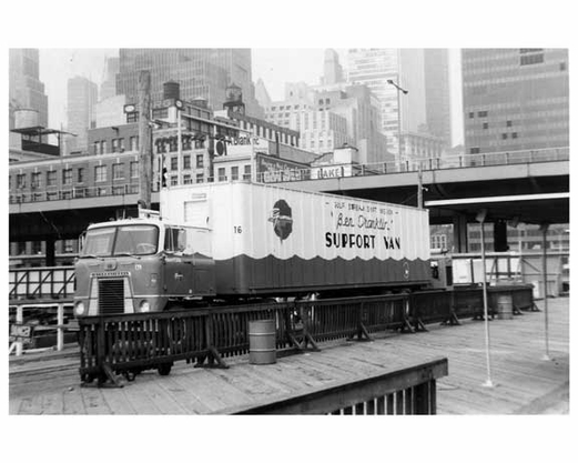"""""""Ben Franklin"""" support  truck at the South Street Seaport 1969"""
