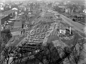 Bird's-Eye view of Windsor Terrace looking north from roof of P.S.130, showing subway construction, 1930