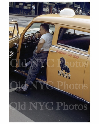Wags yellow taxi NYC 1950s