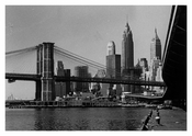 Brooklyn Bridge 1960's with city in shot
