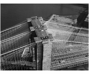Brooklyn Bridge - aerial view looking at the top of the Brooklyn Tower 1982