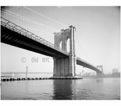 Brooklyn Bridge - view looking east from Manhattan shore with Manhattan Bridge in background - 1978