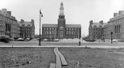 Brooklyn College campus nearing completion, view across Bedford Avenue, 1937-8