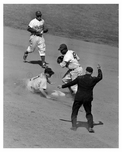 Brooklyn Dodgers play the Pirates at Ebbets field 9/22/48 Reese, Robinson, Murtagh