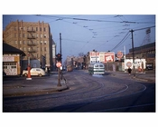 Busses passing by Ebbets Field 1950s Flatbush Brooklyn NY