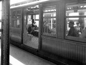 C-type train waits for passengers on the BMT Fulton Street Line, c.1950