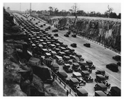 Cars lined up for the opening of the George Washington Bridge NYC