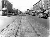 Church Avenue looking west from East 2nd Street, showing Beverly Theater, 1947