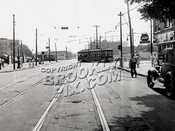 Church Avenue trolley turning into East 98th Street on way to Canarsie Depot, August 8, 1948