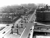 Constructing the BQE along Park Avenue, looking west at Washington Avenue, March 1959