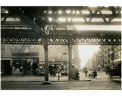 """Cooper Sq.""  & 4th Street - view east at the Bowery 1915"