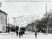 Cortelyou Road, looking east from Coney Island Avenue, 1915. Avenue C trolley seen at its terminal