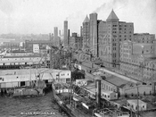 Domino Sugar Refinery on the waterfront, c.1905