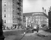 "Ebbets Field, from Washington Avenue and Sullivan Place, with WWII Allied victory ""V,"" 1945"