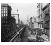 Elevated Train Tracks 6th Avenue up from 14th Street 1900