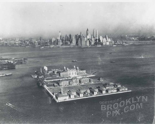 Ellis Island when it was the active immigration center, 1930s