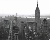 Empire State Building from 42nd Street and Park Avenue, World Trade Center in distance, 1972