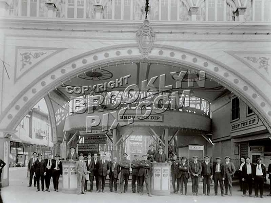 Entrance to Drop the Dip coaster at its original location, Bowery at W.15 St., 1915--Later Luna Park