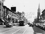 Flatbush Ave. s. to Church Ave., Garfield's, Erasmus Hall HS on left, Dutch Reformed Church on right