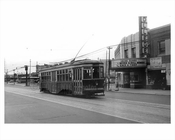 Flatbush Avenue looking south toward Avenue H with a Trolley passing infront of College Theater Flatbush 1948 Brooklyn NY