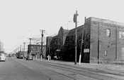 Flatbush Trolley Depot at Avenue N and East 49th Street, built 1908, demolished 1951, 1950 photo, now site of a playground