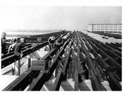 floorbeams in half constructed boardwalk 1922