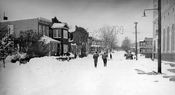 Forbell Street, north to Pitkin Avenue; PS 214 on the right. during Blizzard of 1947