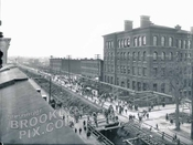 Fourth Avenue, southwest to 59th Street, subway construction and public school on corner, c.1913